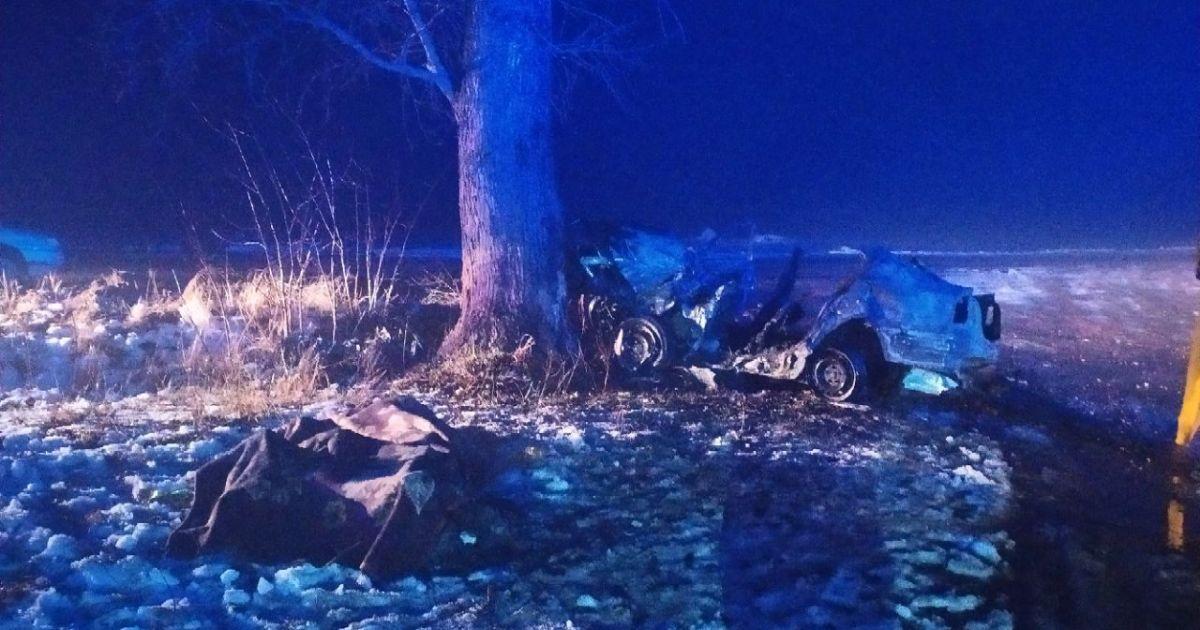 В Житомирской области автомобиль влетел в дерево и загорелся — погибли три человека