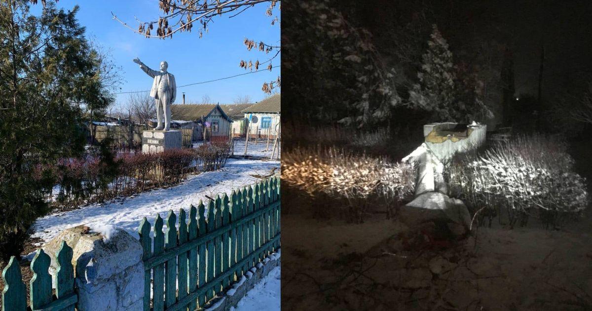 В Одесской области неизвестные снесли памятник Ленину и отбили нос бюсту Маркса: фото