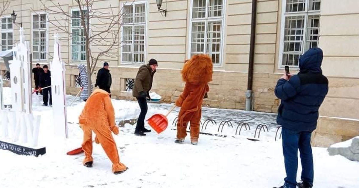 Непогода во Львове: власть просит горожан помочь расчищать улицы, за лопату взялся и Садовый