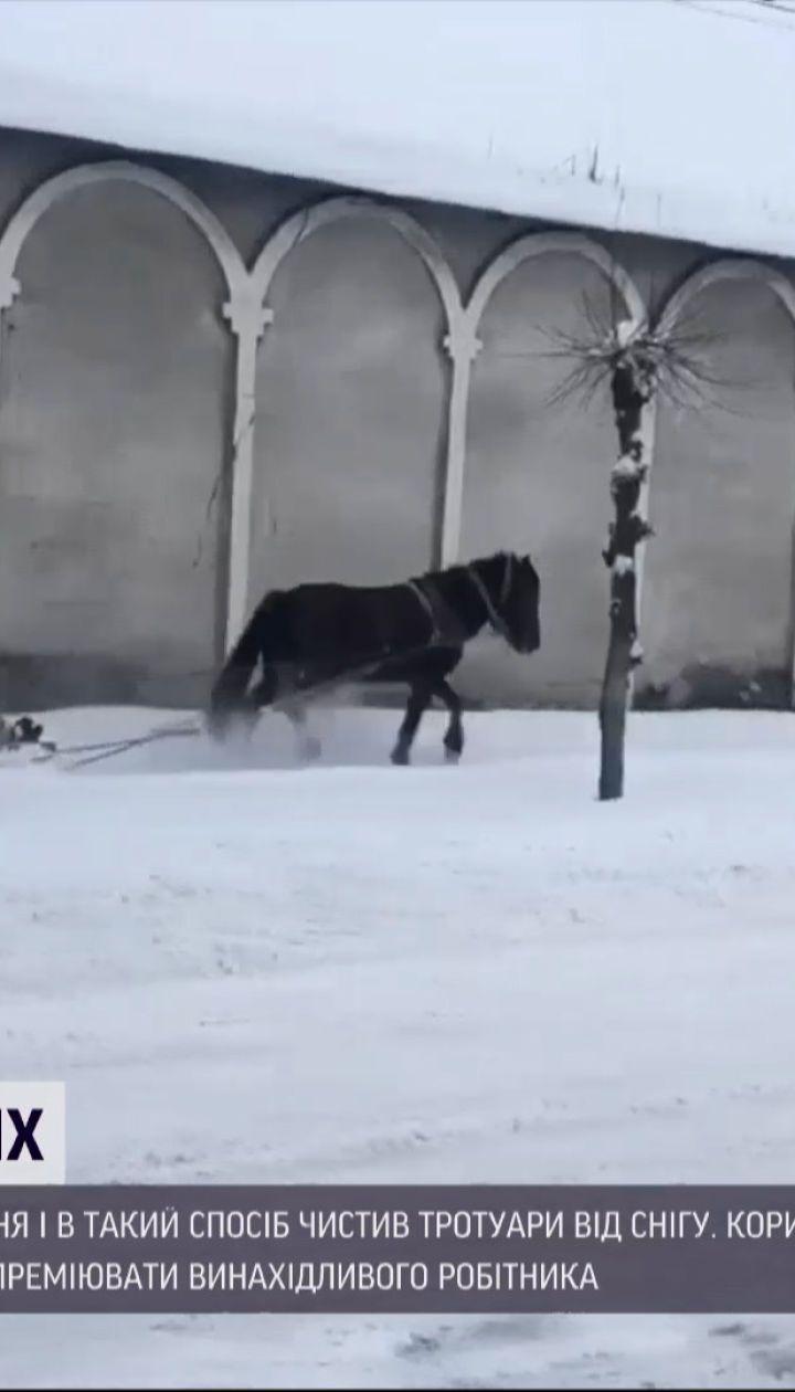 Новости Украины: во Львовской области коммунальщик удивил местных способом уборки снега