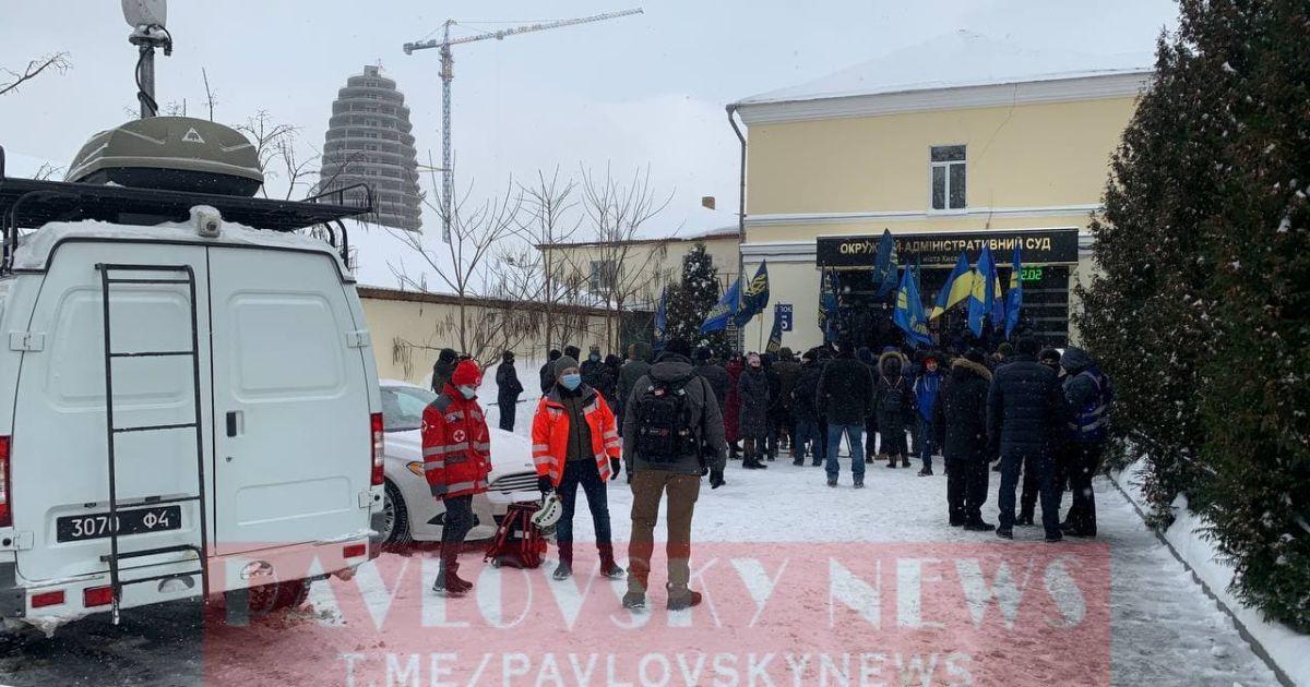 В Киеве под ОАСК протестуют против переименования проспекта Степана Бандеры (фото, видео)