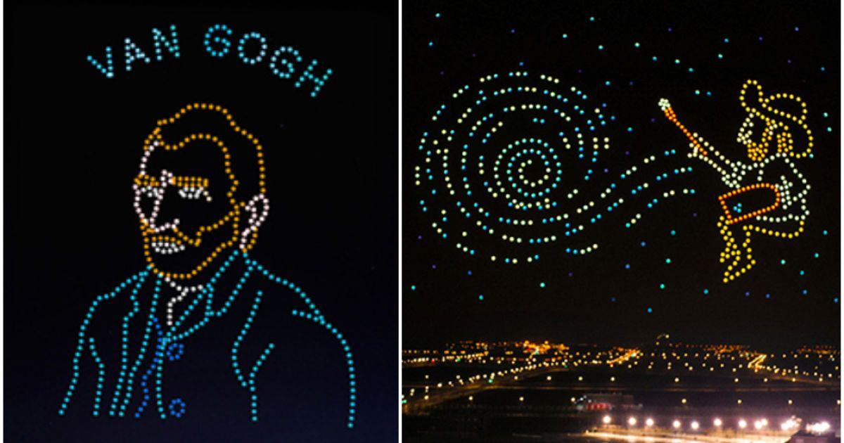 В Китае установили мировой рекорд: в ночное небо запустили 600 дронов и воссоздали картины Ван Гога (видео)