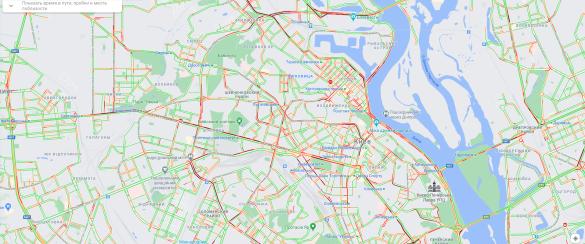 Затори в Києві, мапа