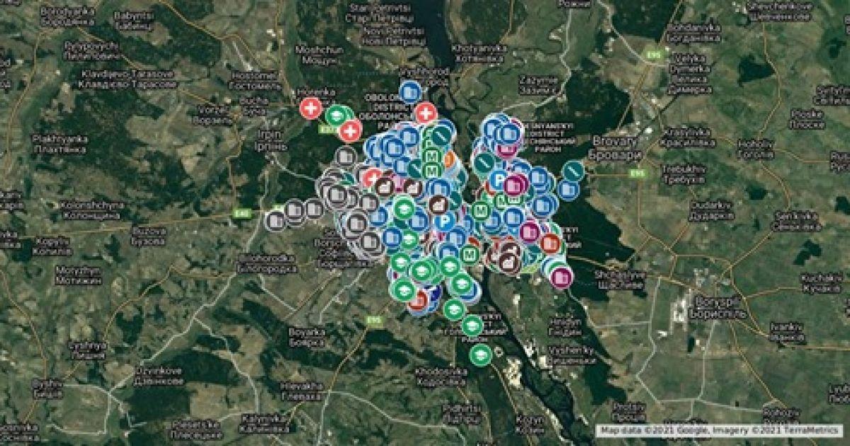 Оприлюднено інтерактивну мапу Києва з адресами підземних сховищ