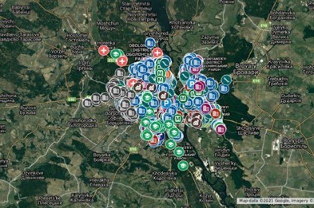 Обнародована интерактивная карта Киева с адресами подземных хранилищ