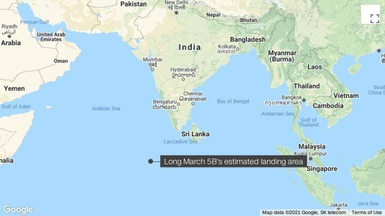 Уламки китайської некерованої ракети Long March 5B, імовірно, впали в Індійський океан