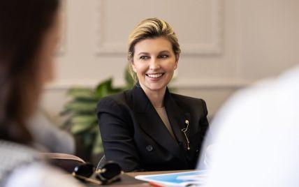 В черном жакете и с элегантной прической: Елена Зеленская на официальной встрече