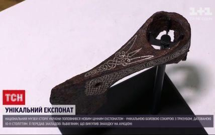 Украинец приобрел уникальный боевой топор с тризубом на аукционе и передал его в музей