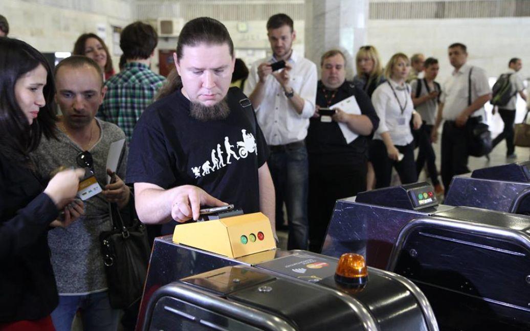 Во время презентации банковских терминалов для оплаты проезда в метро / © Киевский метрополитен