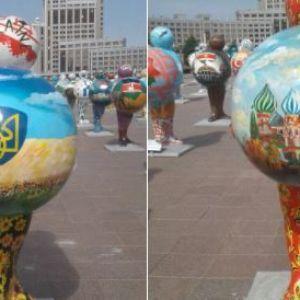 В Казахстане зарисовали скандальную карту Украины без Крыма