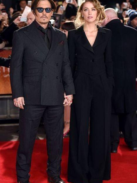 """Эмбер Херд и Джонни Депп на премьере фильма """"Мордекай"""" в Лондоне / © Getty Images/Fotobank"""