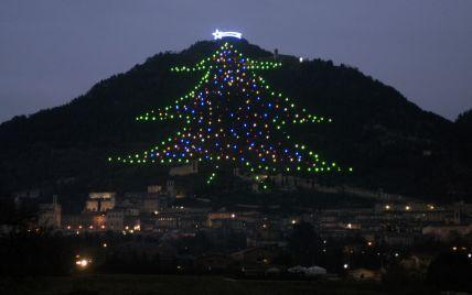 В Италии зажгли самую большую новогоднюю елку в мире: высота дерева — 750 метров
