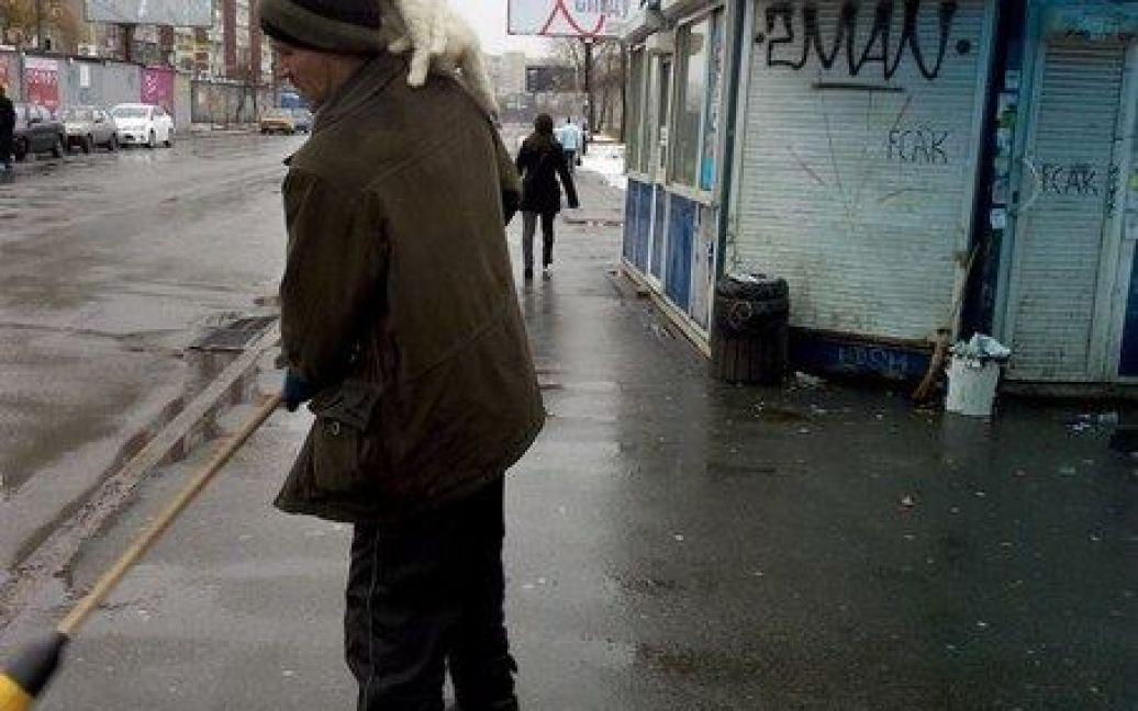 Чоловік підмітає вулицю і не звертає увагу на пухнастих тваринок у себе на голові / © vk.com/troyeshchyna_array