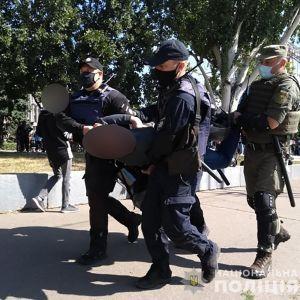 Во время проведения ЛГБТ-прайда в Запорожье задержали трех человек