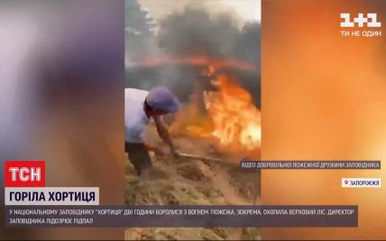 Крупный пожар на Хортице: в национальном заповеднике подозревают поджог