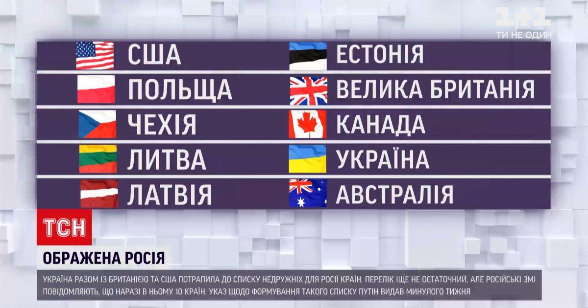 """Новости мира: в список российских """"недругов"""" попали 10 стран"""
