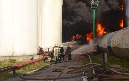 Смотрите онлайн гигантский пожар нефтебазы под Васильковом