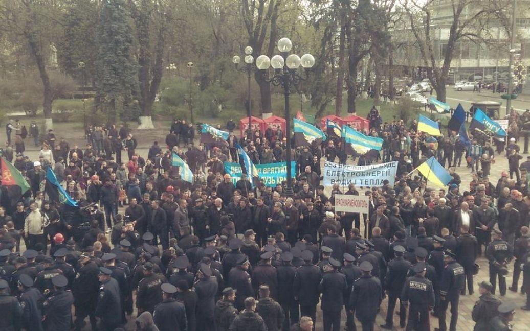 Шахтарі протестують під Радою / © twitter.com/OksanaDenysova