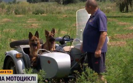 Житель Черкащини став відомим у Мережі завдяки тому, що їздить на мотоциклі разом зі своїми собаками
