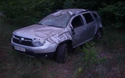 Под Киевом Renault сбил лося и скатился в кювет