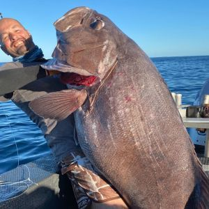 Пів години затягував на човен: у Новій Зеландії рибалка зловив гігантського морського окуня (фото)
