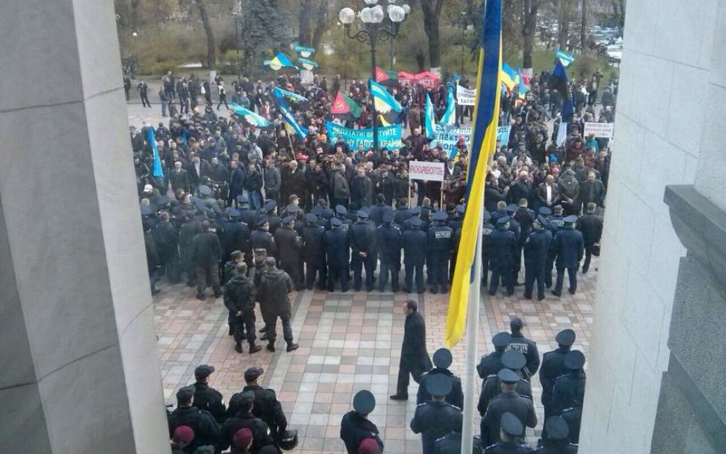 Шахтарі протестують під Радою / © facebook.com/hromadsketv