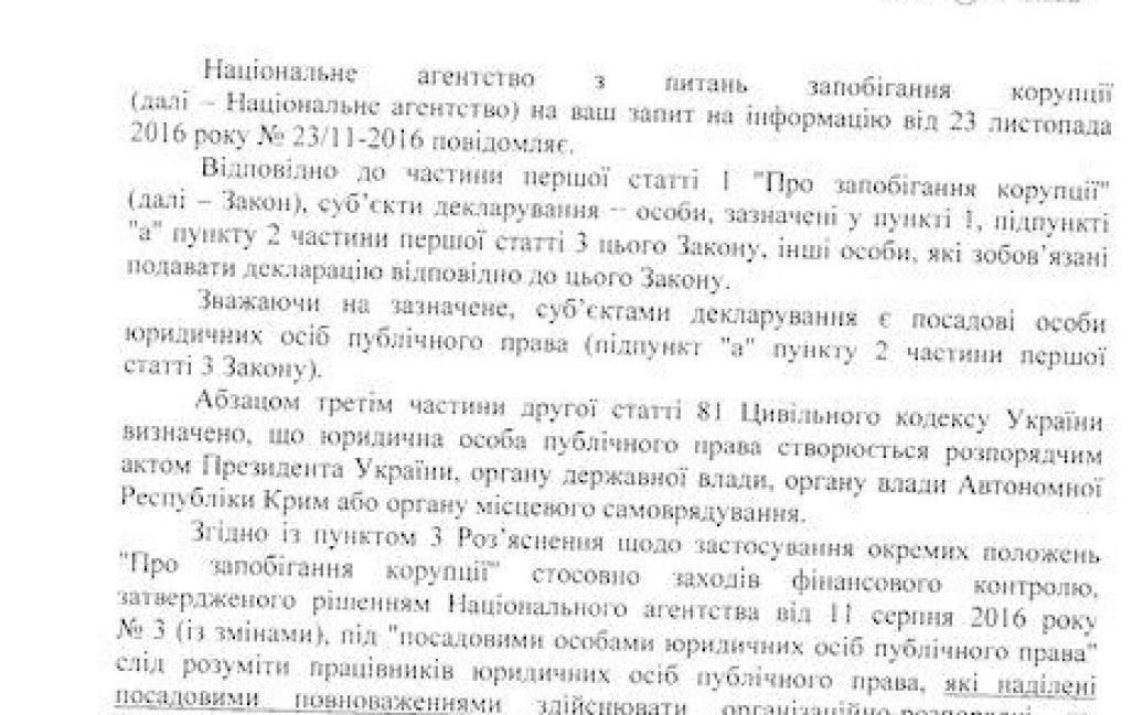 Ответ НАЗК на информационный запрос / © Освіта.ua