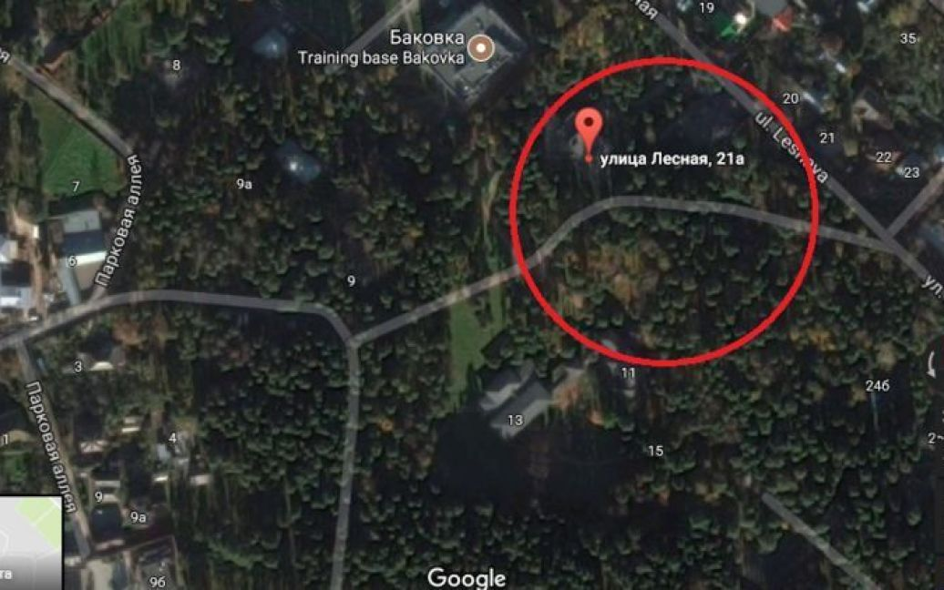 Якобы дача Януковича на карте / © Google Maps