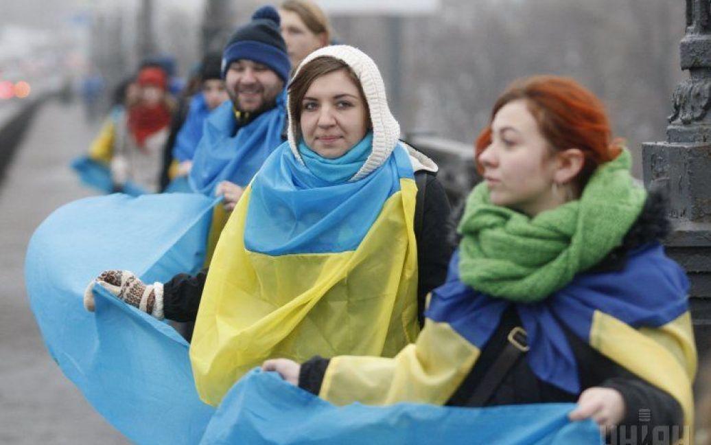 У Києві активісти створили символічний ланцюг через Дніпро / © УНІАН