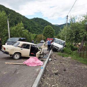 На Закарпатті автомобіль врізався у припаркований мікроавтобус: є загиблий (фото)