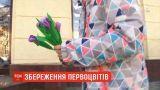 У центрі Дніпра перехожим роздали півтисячі штучних крокусів