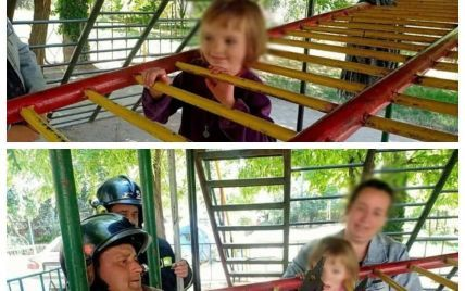 В Одессе 5-летняя девочка застряла головой в металлической конструкции детской площадки