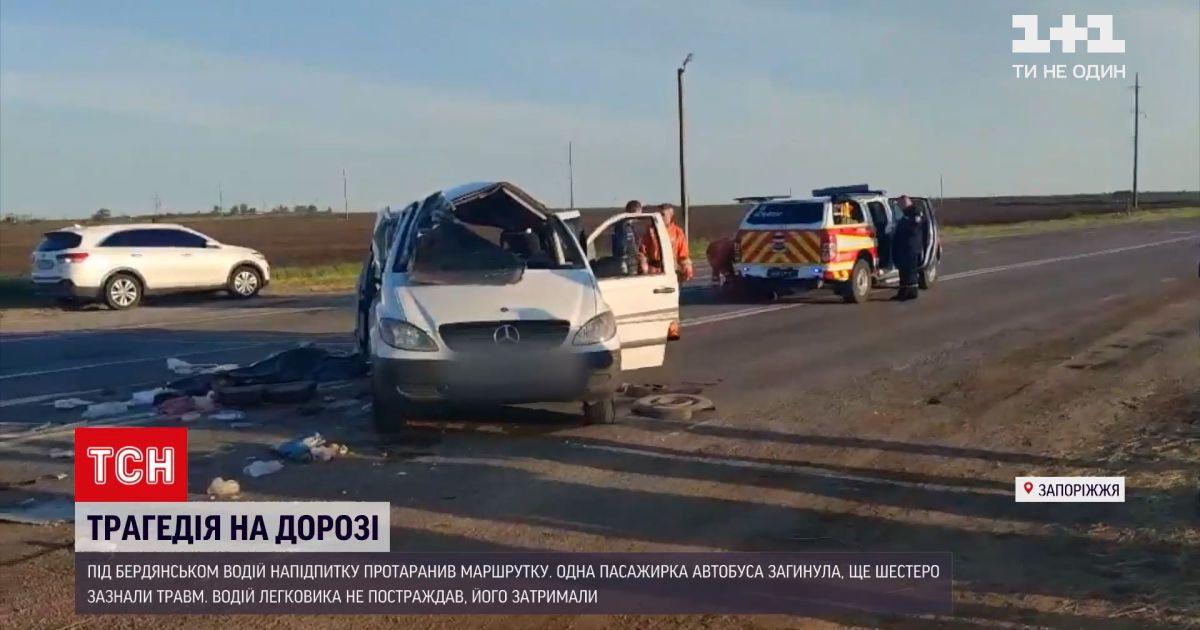 Новини України: під Бердянськом нетверезий водій протаранив маршрутку