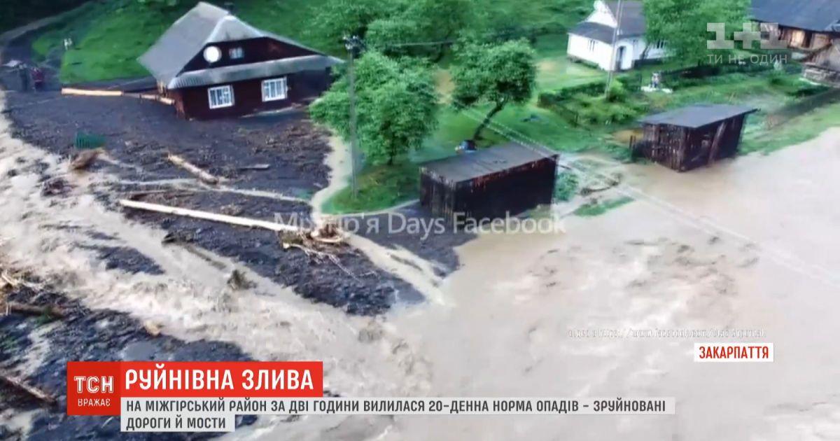 На Закарпатье за два часа выпала 20-дневная норма осадков