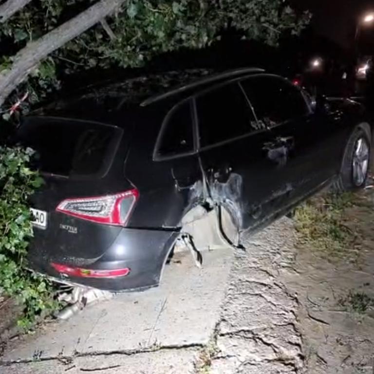 Протаранила електроопору і врізалася в дерево: у Києві чинна суддя скоїла ДТП