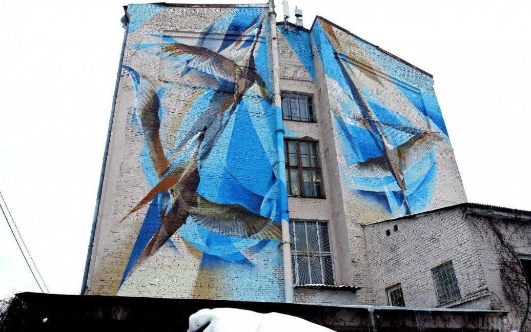 Мурал із зображенням журавлів за адресою Георгіївський провулок, 9, у Києві. / © УНІАН