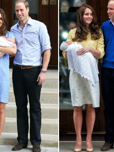 День выписки герцогини Кэтрин в 2013 году с принцем Георгом и в 2015 с новорожденной принцессой Кембриджской / © Getty Images