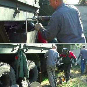 """Український волонтер винайшов """"сендвіч"""" із бетоном для бронювання вантажних автомобілів """"КрАЗ"""""""