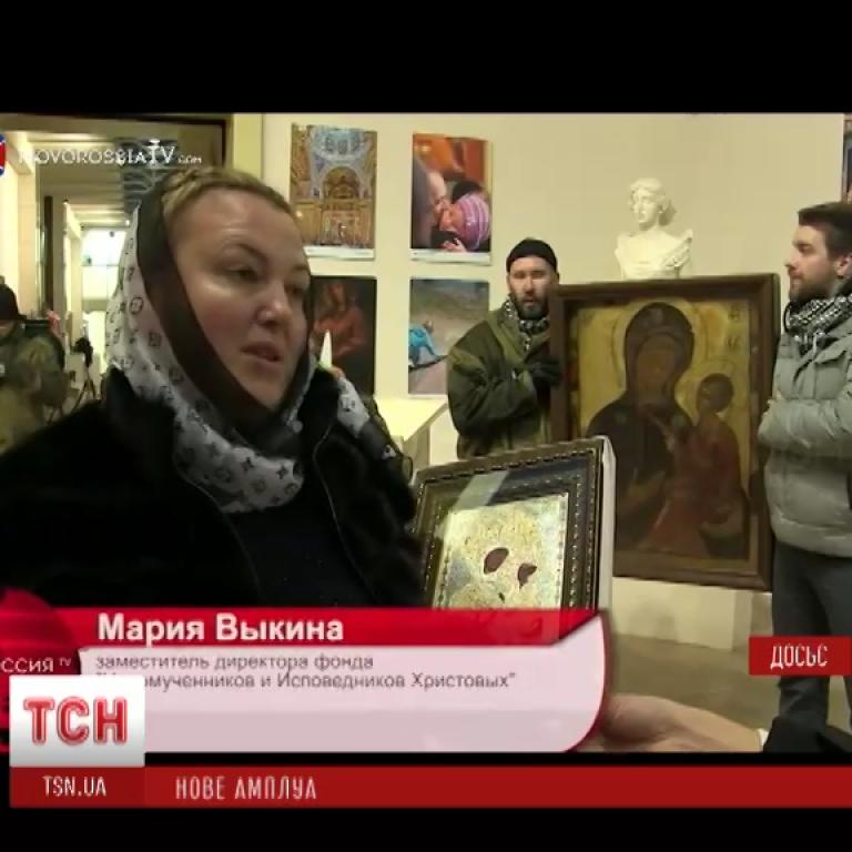 """""""Солдатська матір"""" Ципко виринула на телебаченні """"Новоросії"""" з іконою для Савур-могили"""