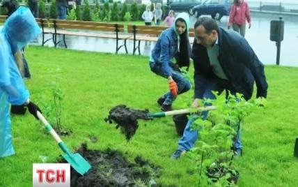 """Работники """"1+1"""" высадили в Киеве калиновый гай Небесной сотни"""