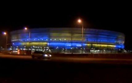 Один з найкращих стадіонів Польщі став жовто-синім в підтримку Євромайдану