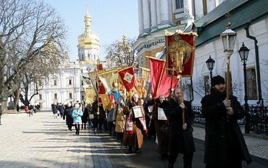 Учасники ходи йшли під імперськими знаменами, прославляли Російську церкву / © Новый Регион