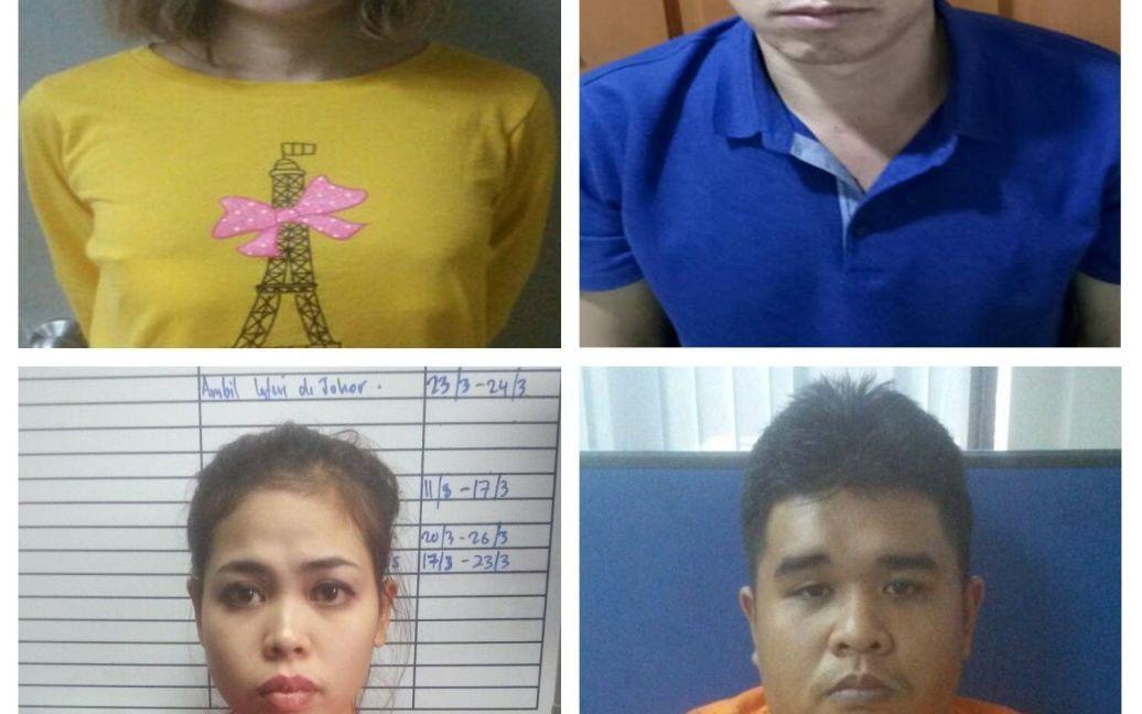Уже затримані підозрювані: в'єтнамка Доан Тхі Хионг, індонезійка Сіті Айс'я, громадянин КНДР Лі Джон Чоль та малайзієць Мухаммад Фарід Бін Джаллалудін. / © Reuters