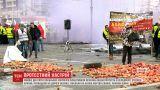 Шини, яблука та свиняча туша: польські фермери влаштували акцію протесту