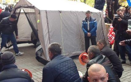 Шахтарі перекрили Хрещатик і встановили намет біля Міненерговугілля